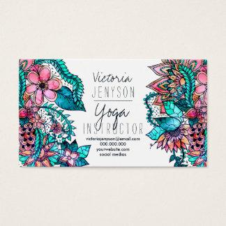 Aquarellblumenillustrations-Yogalehrer Visitenkarte