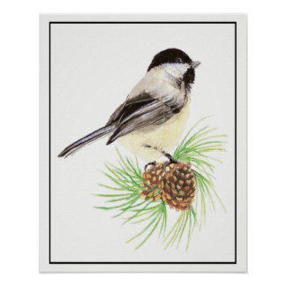 AquarellChickadee auf Kiefern-Kegel-Vogel-Familie Poster