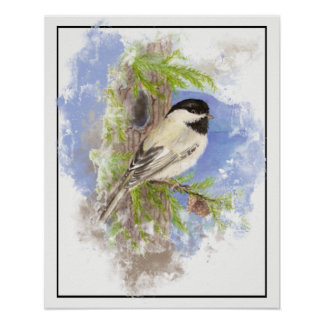 Aquarellchickadee-Vogel-Fichte-Baum Poster