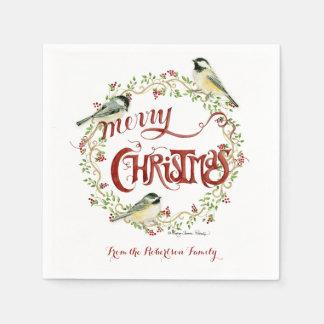 Aquarellchickadee-Vogel-frohe Weihnacht-Kranz Papierserviette