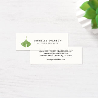 Aquarelleinfache grüne Ginkgo-Blatt-Natur Mini Visitenkarte