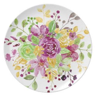 Aquarellgoldplummy Blumenstrauß Melaminteller
