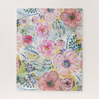 Aquarellhandfarben-Blumenmuster Puzzle