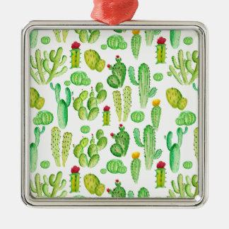 Aquarellkaktus Quadratisches Silberfarbenes Ornament