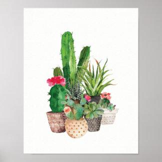 Aquarellkaktus und Succulents Poster