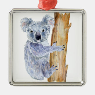 Aquarellkoalaillustration Quadratisches Silberfarbenes Ornament