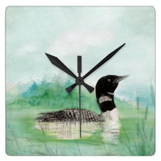 Aquarellloon-Wilderness See-Vogel-Natur-Kunst Quadratische Wanduhr
