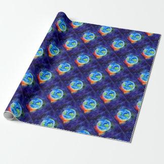 Aquarellmalerei von Erde Geschenkpapier