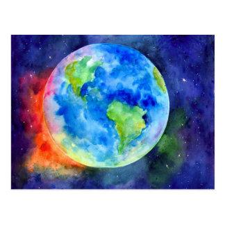 Aquarellmalerei von Erde Postkarte