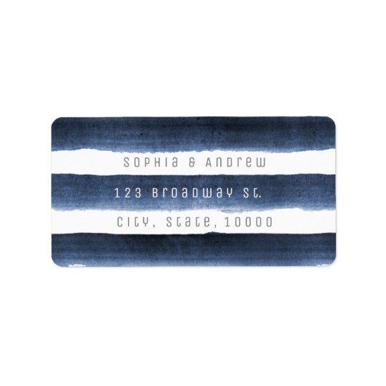 Aquarellmarine stripes Seestrandhochzeit Adress Aufkleber