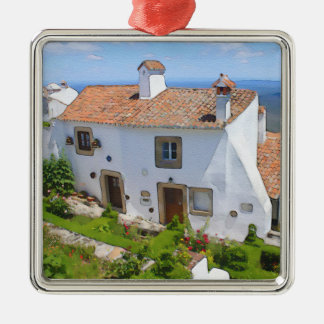 Aquarellmittelmeerhaus Quadratisches Silberfarbenes Ornament