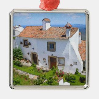 Aquarellmittelmeerhaus Silbernes Ornament