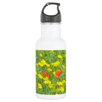 Aquarellmohnblumen Edelstahlflasche