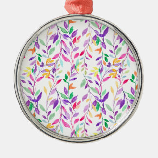 Aquarellpastellblatmuster Silbernes Ornament