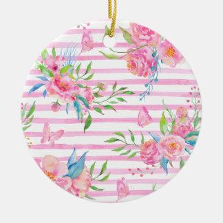 Aquarellrosa Blumenmuster mit Streifen Keramik Ornament