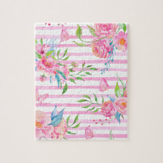 Aquarellrosa Blumenmuster mit Streifen Puzzle