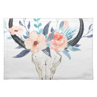 Aquarellrosa Blumenstier-Schädel Illustration Tischset