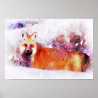 Aquarellroter Fox-Stillstehen Poster