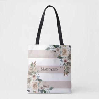 Aquarelltaupe-Blumenstreifen Tasche