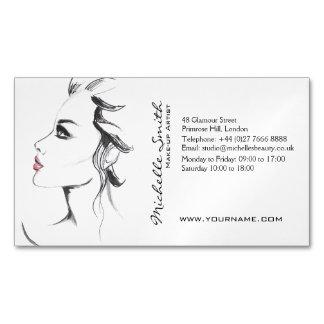 Aquarelltintenschwarzweiss-Frauenmake-up Visitenkartenmagnet