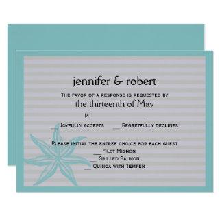 Aquastarfish-Streifen-Strand-Hochzeits-Wartekarte 8,9 X 12,7 Cm Einladungskarte