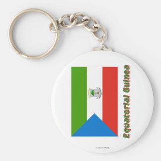 Äquatoriale Guinea-Flagge mit Namen Standard Runder Schlüsselanhänger