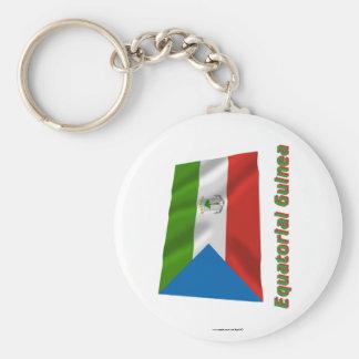 Äquatoriale Guinea-wellenartig bewegende Flagge Standard Runder Schlüsselanhänger
