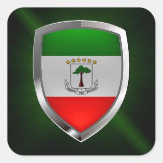 Äquatoriales Guinea Mettalic Emblem Quadratischer Aufkleber