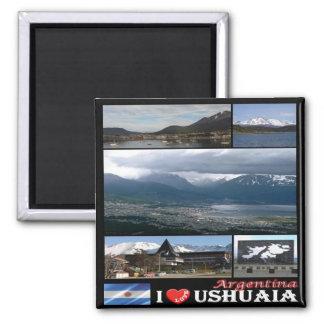 AR - Liebe-Mosaik-Collage Argentiniens Ushuaia I Quadratischer Magnet
