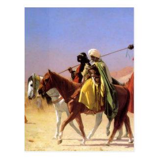 Araber, welche die Wüste durch Jean-Leon Gerome Postkarte