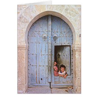 Arabische Kinder in Tunis Medina Karte