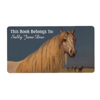 Arabische Wüsten-Traum-PferdeBuchzeichen-Aufkleber Versandetikett