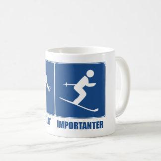 Arbeit ist wichtig und fährt ist Importanter Ski Kaffeetasse