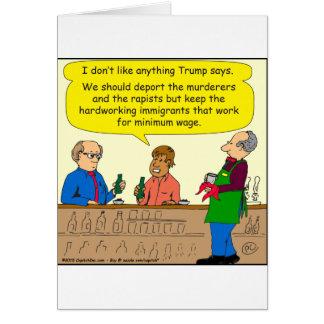 Arbeit mit 753 Immigranten für Mindestlohn-Cartoon Grußkarte