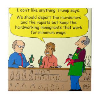 Arbeit mit 753 Immigranten für Mindestlohn-Cartoon Kleine Quadratische Fliese