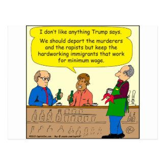 Arbeit mit 753 Immigranten für Mindestlohn-Cartoon Postkarte