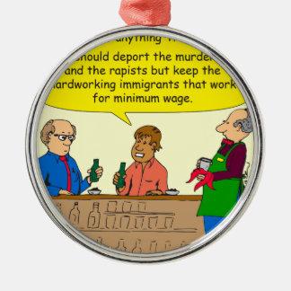 Arbeit mit 753 Immigranten für Mindestlohn-Cartoon Rundes Silberfarbenes Ornament