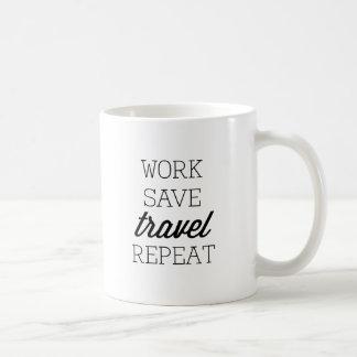 Arbeit retten Reise-Wiederholung Kaffeetasse