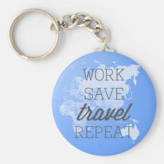 Arbeit retten Reise-Wiederholung Standard Runder Schlüsselanhänger