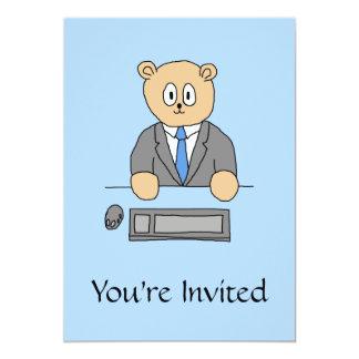 Arbeiten in einem Büro. Blaue Bindung 12,7 X 17,8 Cm Einladungskarte