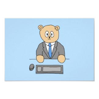 Arbeiten in einem Büro. Blaue Bindung 8,9 X 12,7 Cm Einladungskarte