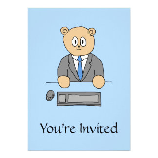 Arbeiten in einem Büro Blaue Bindung Einladungskarte