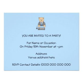 Arbeiten in einem Büro Blaue Bindung Individuelle Einladung