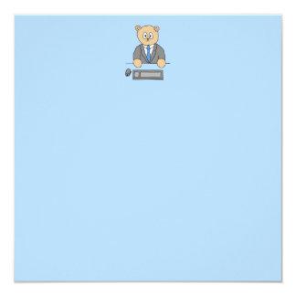 Arbeiten in einem Büro. Blaue Bindung Einladungskarten