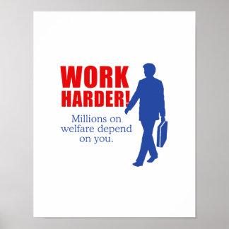 Arbeiten schwerer. Millionen auf Wohlfahrt hängen  Plakat