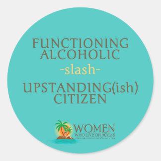 Arbeitende alkoholische Aufkleber (Aqua, Kreis)