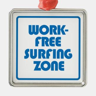 Arbeits-freie surfende Zone Quadratisches Silberfarbenes Ornament