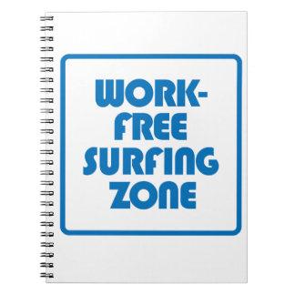 Arbeits-freie surfende Zone Spiral Notizblock