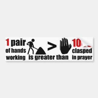 Arbeits-> Gebets-Phrase - Autoaufkleber