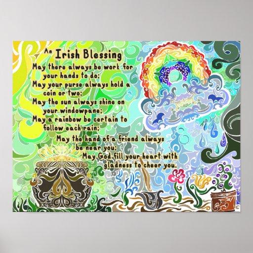 Arbeits-harter irischer Segen ~Psychedelic Flash~ Plakatdrucke